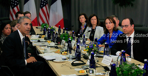 United States President Barack Obama holds a bilateral meeting with President Francois Hollande of France at the Nuclear Security Summit in Washington, DC  on March 31, 2016. <br /> Credit: Dennis Brack / Pool via CNP