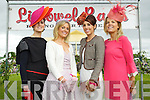 Emer Nash, (third) Kate Ferguson (winner) and Susan Moriarty (Second) finalists in the best dressed lady competition pictured with Marietta Doran at Listowel races on Sunday.