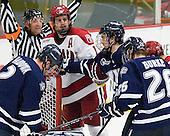 Connor Hardowa (UNH - 2), Alex Killorn (Harvard - 19), Trevor van Riemsdyk (UNH - 6), Greg Burke (UNH - 26) - The Harvard University Crimson defeated the University of New Hampshire Wildcats 7-6 on Tuesday, November 22, 2011, at Bright Hockey Center in Cambridge, Massachusetts.