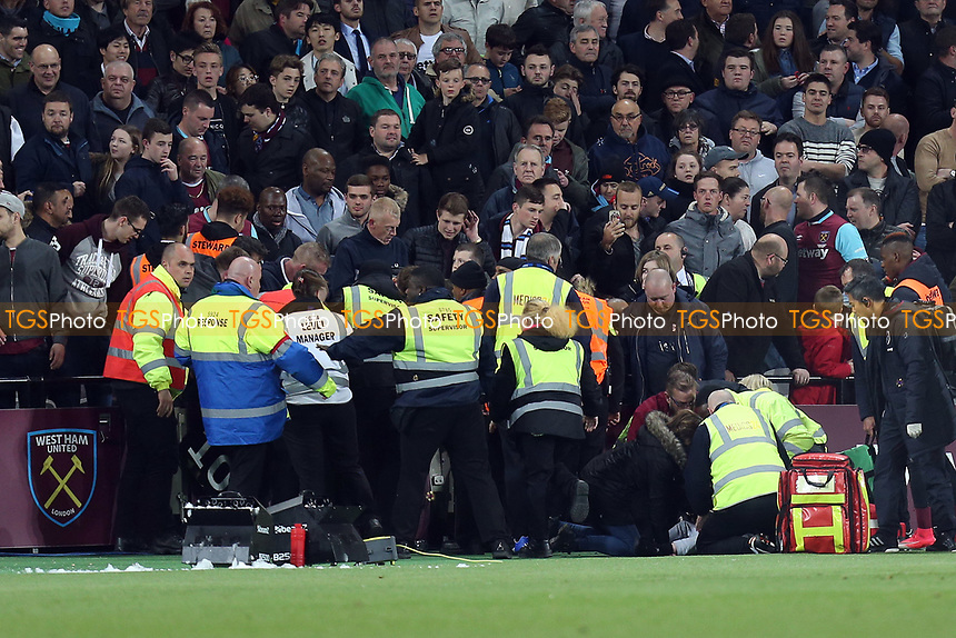 The wall collapses as fans celebrate Manuel Lanzini of West Ham United scoring the opening goal during West Ham United vs Tottenham Hotspur, Premier League Football at The London Stadium on 5th May 2017