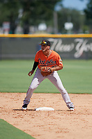 Baltimore Orioles second baseman Alexis Torres (45) waits for a throw during an Instructional League game against the New York Yankees on September 23, 2017 at the Yankees Minor League Complex in Tampa, Florida.  (Mike Janes/Four Seam Images)