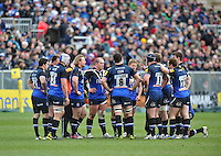 Bath players have a word during a break in play. Aviva Premiership match, between Bath Rugby and London Welsh on March 30, 2013 at the Recreation Ground in Bath, England. Photo by: Patrick Khachfe / Onside Images