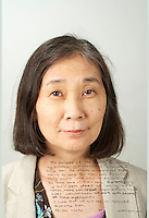 Economy Portraits, a project done as Artist In Residence at Huntington Beach Art Center, in Huntington Beach, CA. <br /> <br /> Participants were asked to answer the question &quot;how has the collapse of the economy affected your life?&quot; The portraits were taken on Red, White, and Black backgrounds. The answers were printed on the portrait in the person's own handwriting. They were suspended from fishing line throughout the gallery until enough were printed to build an American flag on the wall.