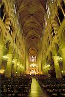 Interior of Notre Dame Cathedral, Paris, France. Paris, France Notre Dame Cathedral.
