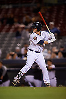 Connecticut Tigers designated hitter Nick Ames (35) at bat during a game against the Hudson Valley Renegades on August 20, 2018 at Dodd Stadium in Norwich, Connecticut.  Hudson Valley defeated Connecticut 3-1.  (Mike Janes/Four Seam Images)