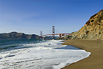 San Francisco: Baker Beach with Golden Gate Bridge in background.  Photo # 2-casanf83761.  Photo copyright Lee Foster