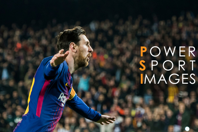 Lionel Andres Messi of FC Barcelona celebrates during the UEFA Champions League 2017-18 Round of 16 (2nd leg) match between FC Barcelona and Chelsea FC at Camp Nou on 14 March 2018 in Barcelona, Spain. Photo by Vicens Gimenez / Power Sport Images