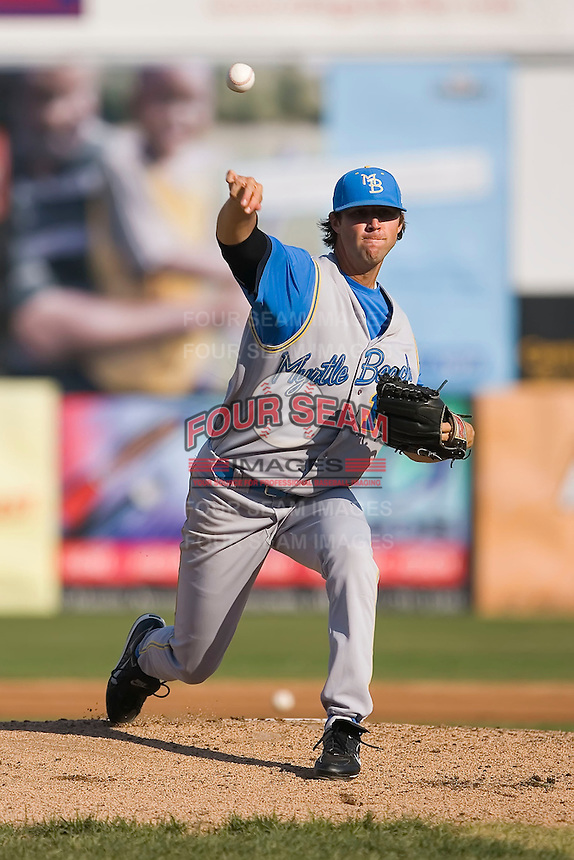 Starting pitcher Chris Vines (14) of the Myrtle Beach Pelicans in action at Harry Grove Stadium in Frederick, MD, Monday July 14, 2008. (Photo by Brian Westerholt / Four Seam Images)