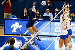 PENSACOLA, FL - DECEMBER 09: Hope Schiller (2) of Concordia University, St. Paul spikes be ball during the Division II Women's Volleyball Championship held at UWF Field House on December 9, 2017 in Pensacola, Florida. (Photo by Timothy Nwachukwu/NCAA Photos via Getty Images)