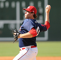Starting pitcher Kyle Stroup (40) of the Greenville Drive pitched a 7-inning, complete-game 3-2 win in the first game of a doubleheader against the Rome Braves on August 15, 2011, at Fluor Field at the West End in Greenville, South Carolina. (Tom Priddy/Four Seam Images)