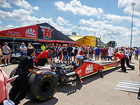 Jul 8, 2017; Joliet, IL, USA; Crew members for NHRA top fuel driver Doug Kalitta during qualifying for the Route 66 Nationals at Route 66 Raceway. Mandatory Credit: Mark J. Rebilas-USA TODAY Sports