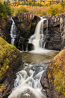 High Falls of the Pigeon River at Grand Portage State Park in autumn.