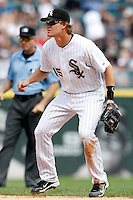 Chicago White Sox second baseman Gordon Beckham #15 in the field during a game against the Kansas City Royals at U.S. Cellular Field on August 14, 2011 in Chicago, Illinois.  Chicago defeated Kansas City 6-2.  (Mike Janes/Four Seam Images)