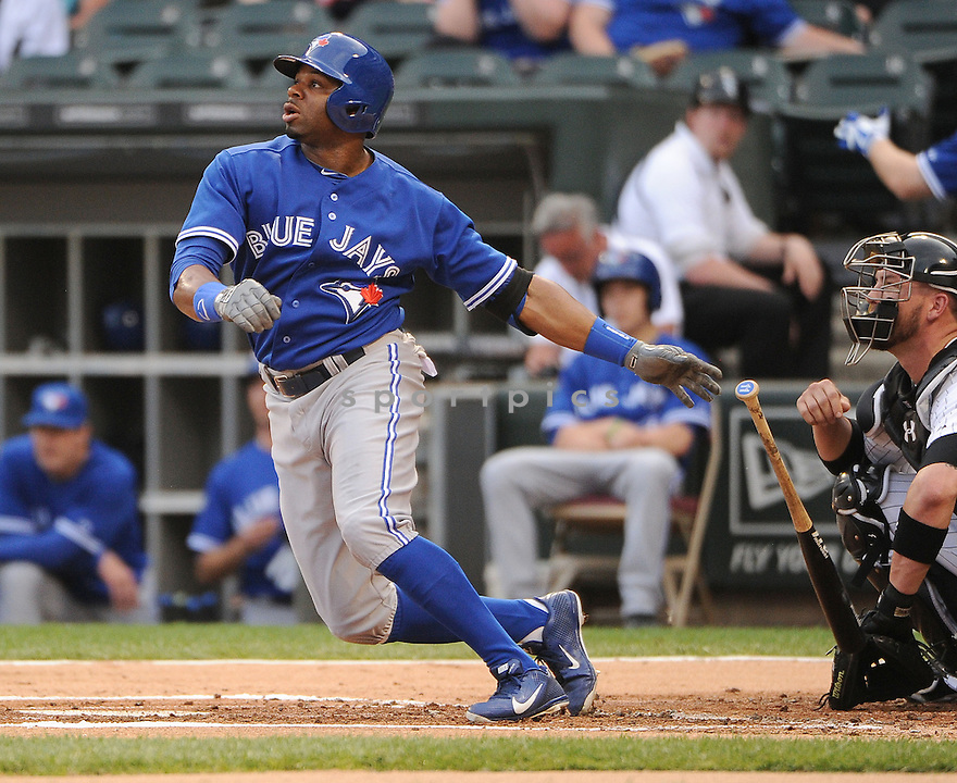 Toronto Blue Jays Rajai Davis (11) during a game against the Chicago White Sox on June 11, 2013 at US Cellular Field in Chicago, IL. The Blue Jays beat the White Sox 7-5.