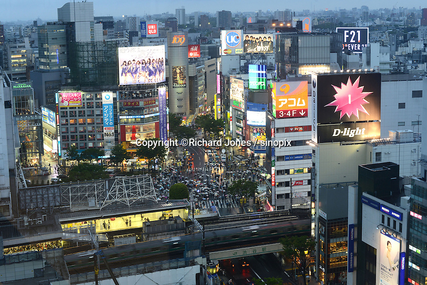 Shibuya District including the famous Shibuya Crossing, Tokyo, Japan.<br /> April-2014