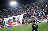 Atletico de Madrid´s supporters with banners during 16th Champions League soccer match at Vicente Calderon stadium in Madrid, Spain. January 06, 2014. (ALTERPHOTOS/Victor Blanco)