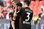 14.04.2018, BayArena, Leverkusen , GER, 1.FBL., Bayer 04 Leverkusen vs. Eintracht Frankfurt<br /> im Bild / picture shows: <br /> Panagiotis Retsos (Leverkusen #3),  <br /> Kevin Volland (Leverkusen #31),  freuen sich &uuml;ber den Sieg <br /> <br /> <br /> Foto &copy; nordphoto / Meuter