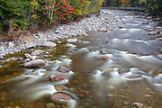 East Branch of the Pemigewasset River, near the Lincoln Woods Trail Suspension footbridge, in Lincoln, New Hampshire during the autumn months.