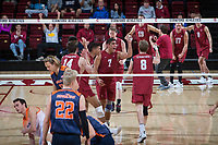 STANFORD, CA - March 3, 2018: Eric Beatty, Leo Henken, Jaylen Jasper, Kyler Presho, Evan Enriques, Mason Tufuga at Maples Pavilion. The Stanford Cardinal lost to Pepperdine, 3-0.