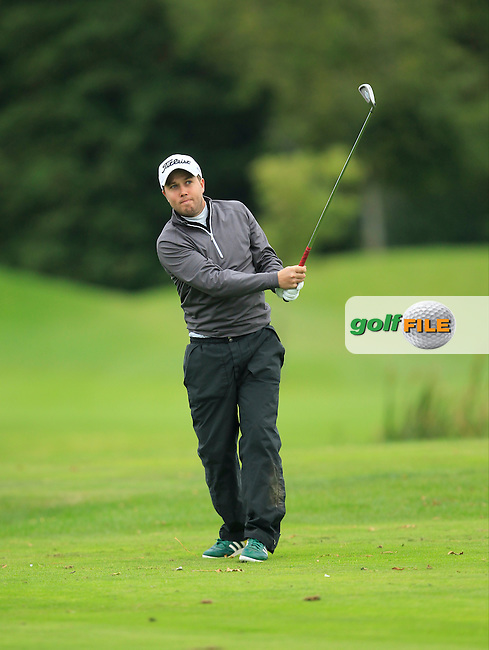 Daniel Beattie (Deer Park) on the 15th tee during Round 3 of The Cassidy Golf 103rd Irish PGA Championship in Roganstown Golf Club on Saturday 12th October 2013.<br /> Picture:  Thos Caffrey / www.golffile.ie