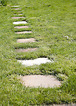 Stepping stone paving slabs form a path across grass lawn in a garden, UK
