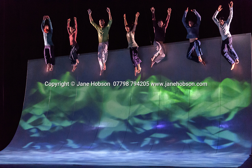 """London, UK. 25.04.2017. Motionhouse presents """"Scattered"""", at the Peacock Theatre. The performers are: Martina Bussi, Daniel Connor, Junior Cunningham, Chris Knight, Naomi Tadevossian, Alasdair Stewart, Becci Williams. Photograph © Jane Hobson."""