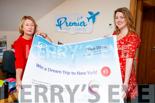 Vera O'Leary of the Kerry Rape and Sexual abuse centre and Norma Moriarty, Premier World Travel launching a draw with a prize of a Trip to New York in aid of  the Kerry Rape and Sexual abuse centre.