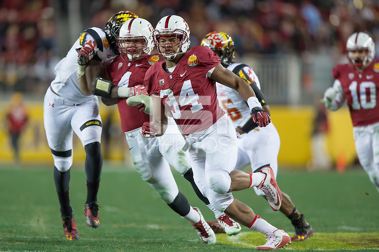 SANTA CLARA, CA - DECEMBER 30, 2014: Peter Kalambayi during Stanford's game against Maryland in the 2014 Foster Farms Bowl.  The Cardinal defeated the Terrapins 45-21.