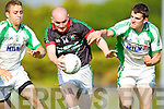 Jerome Flynn Milltown-Castlemaine in action against Eoin Murray and Michael Brennan Saint Brendans in the First Round of the Kerry Senior Football Championship at Milltown on Sunday.