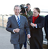 UKIP 2015 Spring Conference<br /> Winter Gardens, Margate, Great Britain <br /> 27th February 2015 <br /> <br /> Nigel Farage arriving at the conference ahead of his speech <br /> <br /> <br /> Photograph by Elliott Franks <br /> Image licensed to Elliott Franks Photography Services