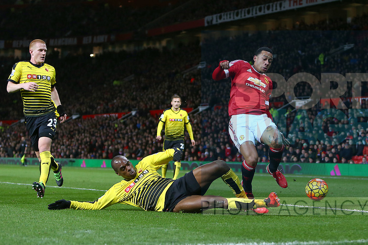 Allan Nyom of Watford tackles Memphis Depay of Manchester United - Barclay's Premier League - Manchester United vs Watford - Old Trafford - Manchester - 02/03/2016 Pic Philip Oldham/SportImage