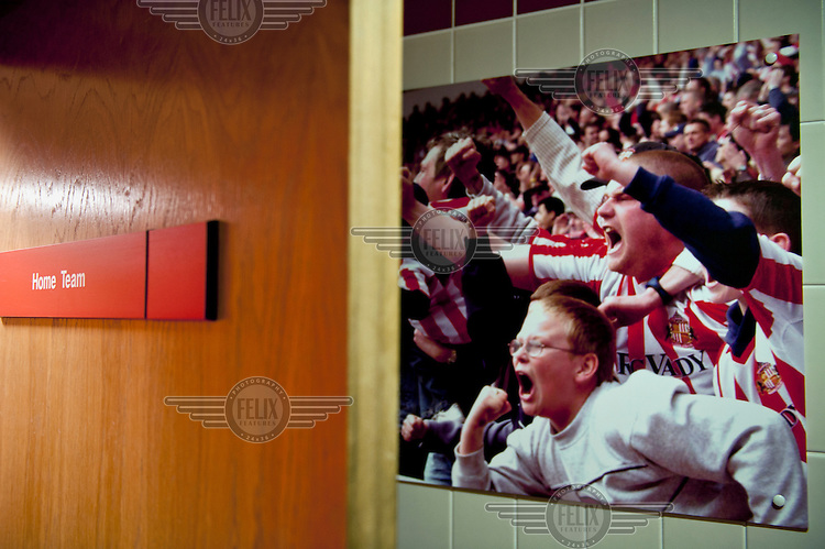 The home team dressing room at Sunderland football club.