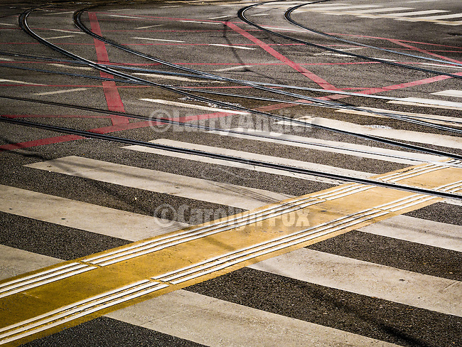 Trolly tracks, intersection, crosswalk stripes, In the streets, Alexander Bulivard, Belgrade, Serbia