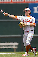 Texas Longhorns second baseman Brooks Marlow (8) makes a throw to first base during the NCAA Super Regional baseball game against the Houston Cougars on June 7, 2014 at UFCU Disch–Falk Field in Austin, Texas. The Longhorns are headed to the College World Series after they defeated the Cougars 4-0 in Game 2 of the NCAA Super Regional. (Andrew Woolley/Four Seam Images)