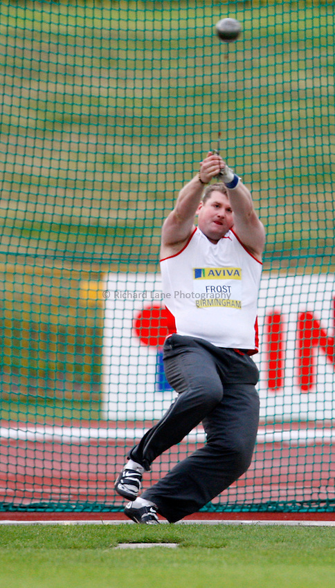 Photo: Richard Lane/Richard Lane Photography. .Aviva National Championships, Incorporating the Team GB Selection Trials, Birmingham. 11/07/2008. Andy Frost in the men's hammer.