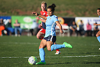 Piscataway, NJ - Sunday April 24, 2016:. Midfielder Raquel Rodriguez (11) of Sky Blue FC serves the ball.  The Washington Spirit defeated Sky Blue FC 2-1 during a National Women's Soccer League (NWSL) match at Yurcak Field.