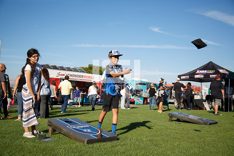 San Jose, CA - Wednesday July 25, 2018: Fans, cornhole during a Major League Soccer (MLS) match between the San Jose Earthquakes and the Seattle Sounders FC at Avaya Stadium.