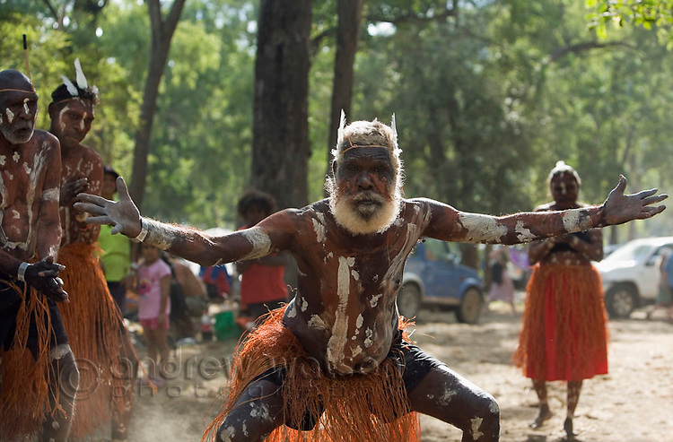 Aurukun dance troupe at the Laura Aboriginal Dance Festival.  Laura, Queensland, Australia