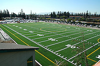 Photographs of the new Davis Field from ground level and also from the roof of Shah Hall.