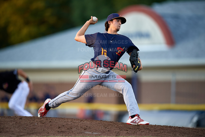 State College Spikes relief pitcher Troy Montemayor (16) delivers a pitch during a game against the Batavia Muckdogs on July 7, 2018 at Dwyer Stadium in Batavia, New York.  State College defeated Batavia 7-4.  (Mike Janes/Four Seam Images)