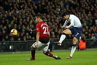 Son Heung-Min of Tottenham Hotspur and Ander Herrera of Manchester United during Tottenham Hotspur vs Manchester United, Premier League Football at Wembley Stadium on 13th January 2019