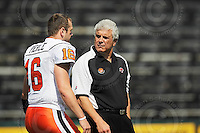 Sep 6, 2008; Hamilton, ON, CAN; BC Lions head coach Wally Buono chats with quarterback Buck Pierce (16). CFL football - BC Lions defeated the Hamilton Tiger-Cats 35-12 at Ivor Wynne Stadium. Mandatory Credit: Ron Scheffler-www.ronscheffler.com. Copyright (c) Ron Scheffler