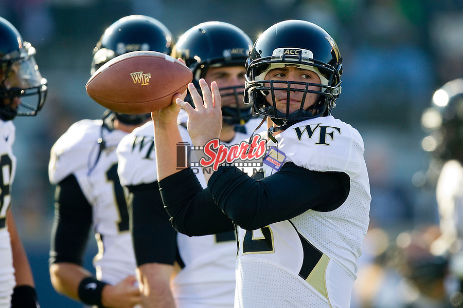 Brendan Cross (12) of the Wake Forest Demon Deacons prior to the game against the Notre Dame Fighting Irish at Notre Dame Stadium on November 17, 2012 in South Bend, Indiana.  The Fighting Irish defeated the Demon Deacons 38-0.  (Brian Westerholt/Sports On Film)