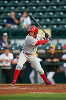 Clearwater Threshers shortstop Emmanuel Marrero (33) at bat during a game against the Bradenton Marauders on April 18, 2017 at LECOM Park in Bradenton, Florida.  Clearwater defeated Bradenton 4-2.  (Mike Janes/Four Seam Images)