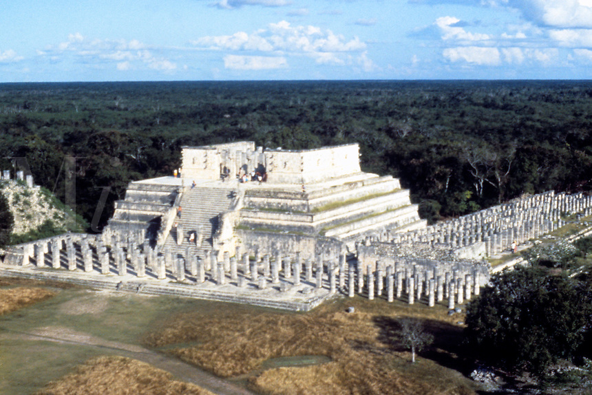 Famous ruins of Chichen Itza in Mexico Yucatan from above