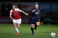 Danielle van de Donk of Arsenal and Leah Galton of Manchester Utd during Arsenal Women vs Manchester United Women, FA WSL Continental Tyres Cup Football at Meadow Park on 7th February 2019