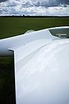 White glider on the ground in Lasham