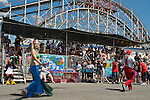 The annual Coney Island Mermaid Parade brings out many colorfully costumed participants.