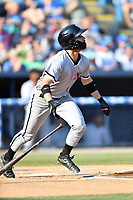Kannapolis Intimidators center fielder Luis Gonzalez (10) swings at a pitch during a game against the Asheville Tourists at McCormick Field on May 12, 2018 in Asheville, North Carolina. The Intimidators defeated the Tourists 11-8. (Tony Farlow/Four Seam Images)