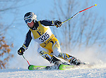 An East Grand Rapids skier competes in the giant slalom during a GRHSSA series event at Cannonsburg, MI on February 10, 2011.  (Photo by Bob Campbell)